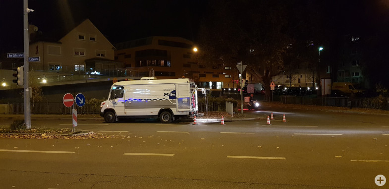 Kanalinspektion nachts