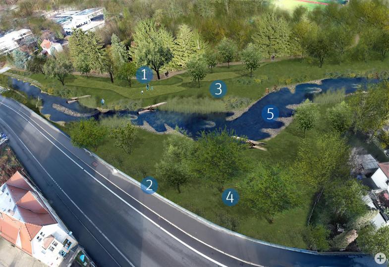 Visualisierung der geplanten Umgestaltung der Echaz im Bereich der ehemaligen Gärtnerei Baisch