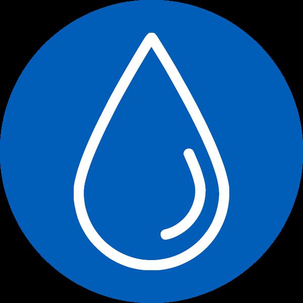 Tropfen Piktogramm der Stadtentwässerung Reutlingen in blauem Kreis