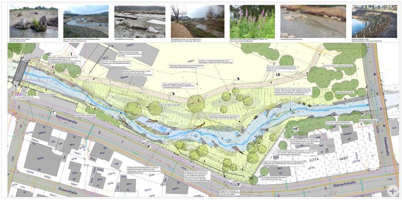 Lageplan der vorrausichtlichen Maßnahmen im Bereich der ehemaligen Gärtnerei Baisch mit Beispielbildern