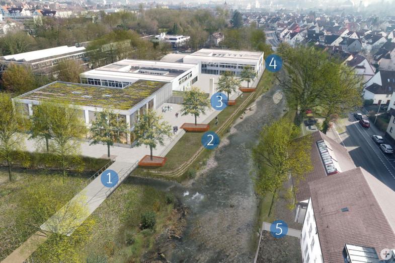 Visualisierung der einzelnen Maßnahmen des Entwicklungskonzeptes Echaz in Betzingen im Bereich Steinachstraße und Hoffmannschule