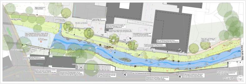 Lageplan der vorrausichtlichen Maßnahmen im Bereich Steinachstraße / Hoffmannschule