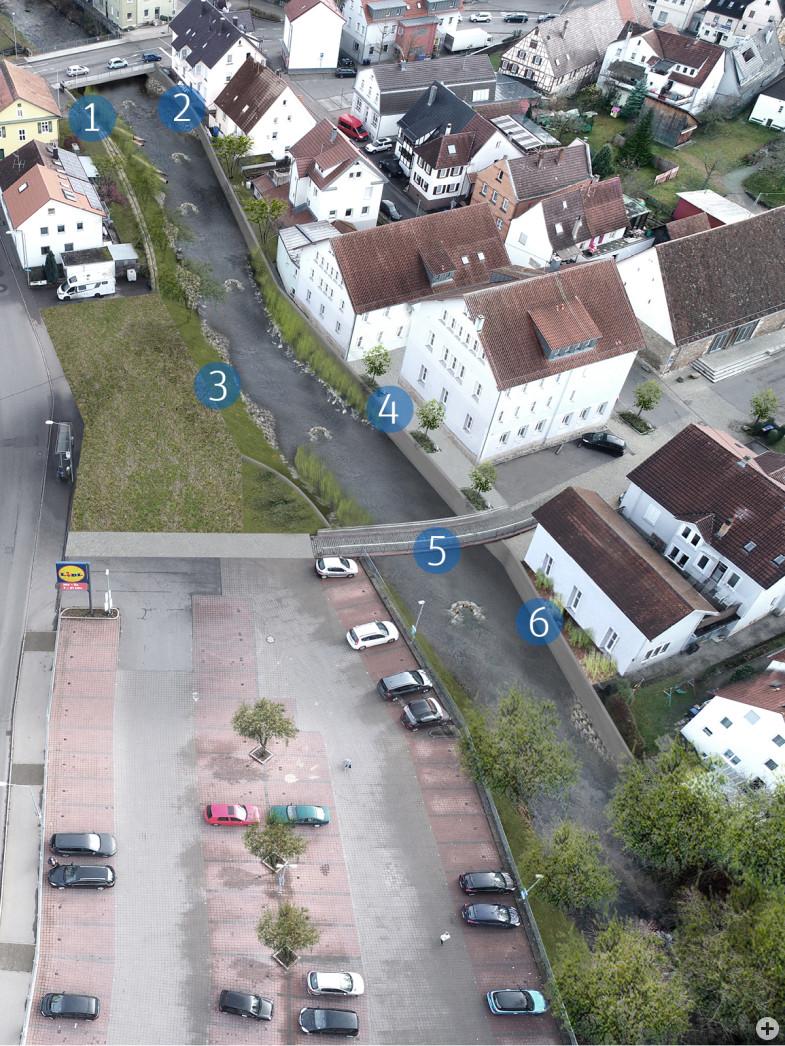Visualisierung Entwicklungskonzept Echaz in Betzingen im Bereich der Engstelle (Flaschenhals) Im Wasen mit den geplanten Maßnahmen