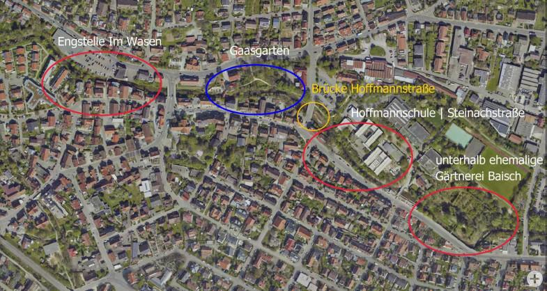 Übersichtsplan der einzelnen Maßnahmen für das Entwicklungskonzept Echaz in Betzingen