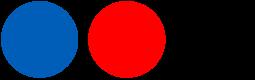 Ein blauer, roter und schwarzer Kreis