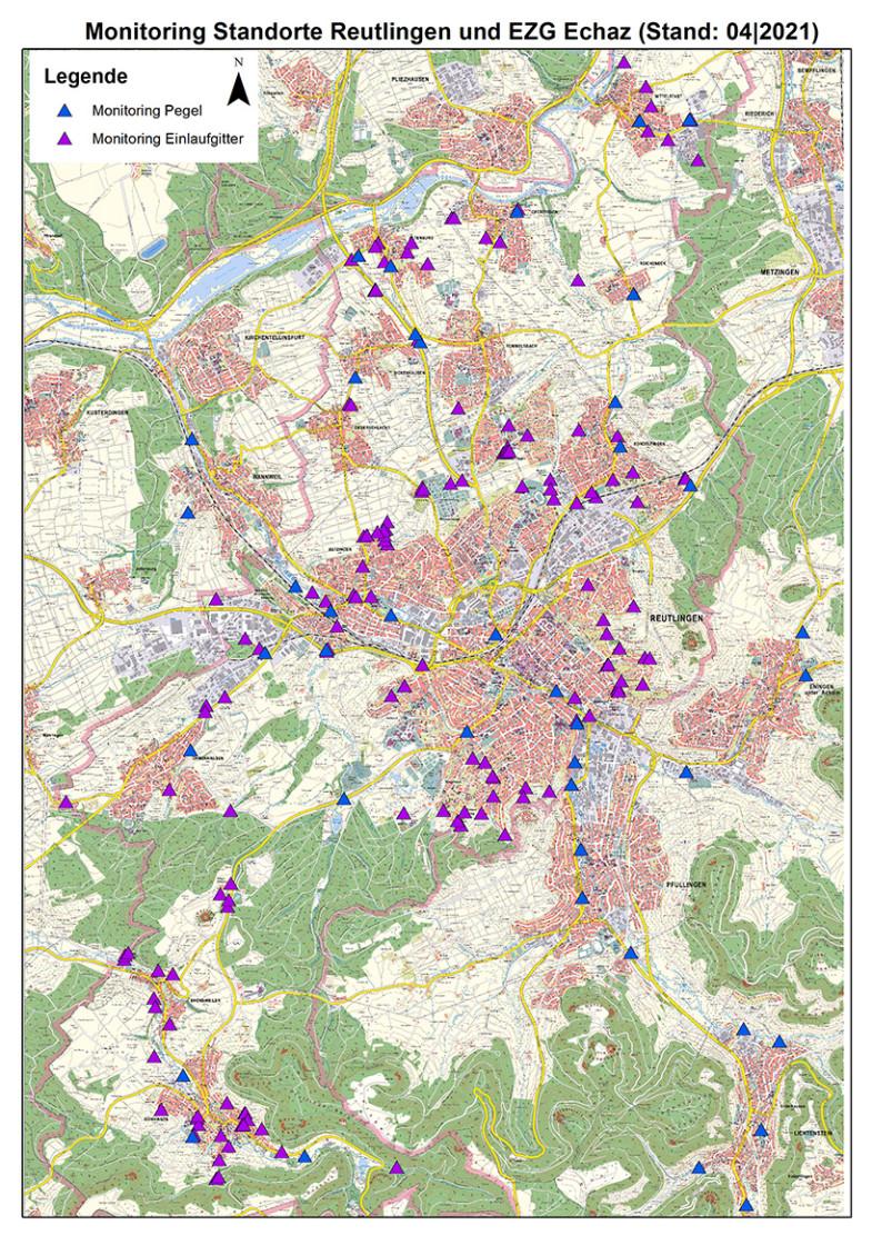 Lageplan mit den Monitoring-Standorten